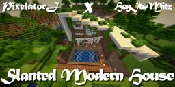 Slanted Modern House (Downloads Available) Minecraft Map & Project