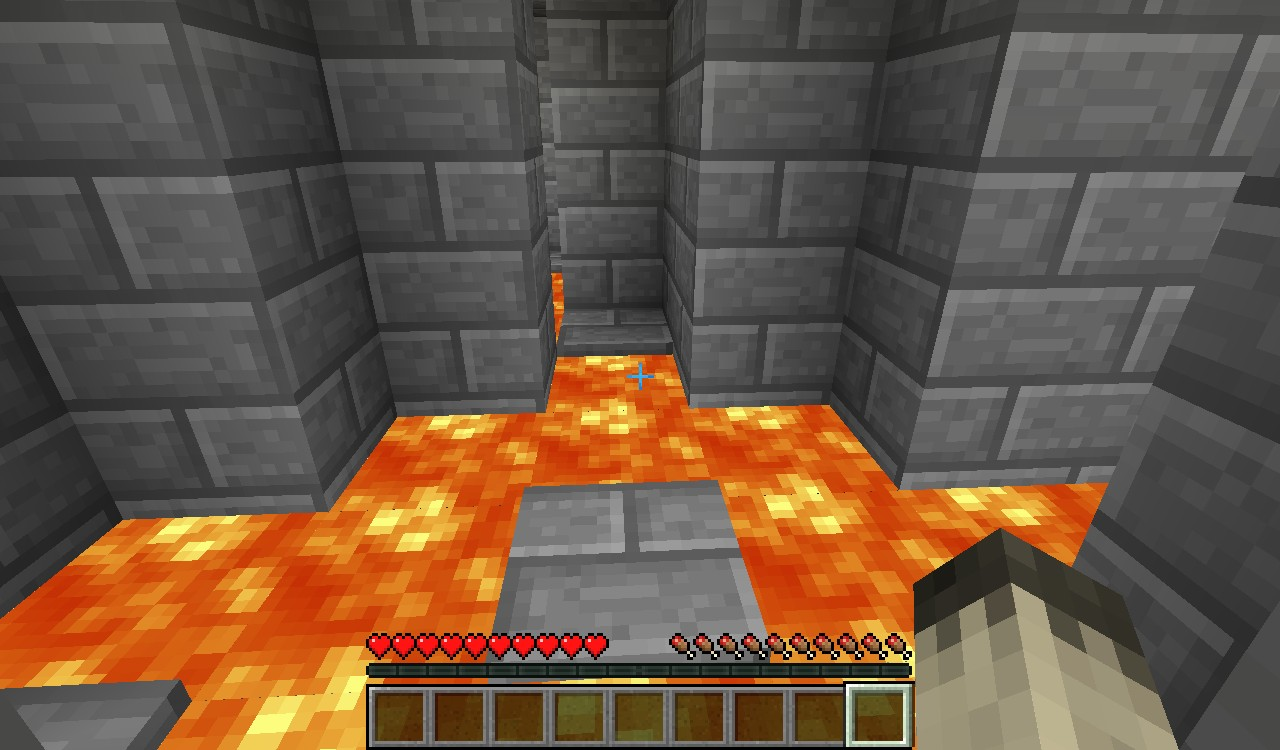 A three way junction with lava everywhere in part 2