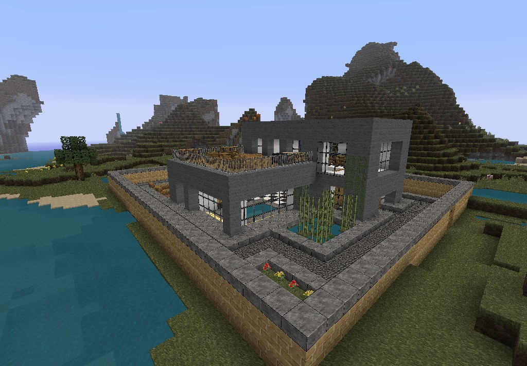 Modern house grey minecraft project for Modern house grey