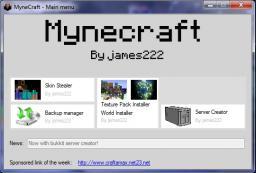 Mynecraft 1.1 © | Minecraft Manager | Beta Version | By james222 | Last update :( Minecraft Mod