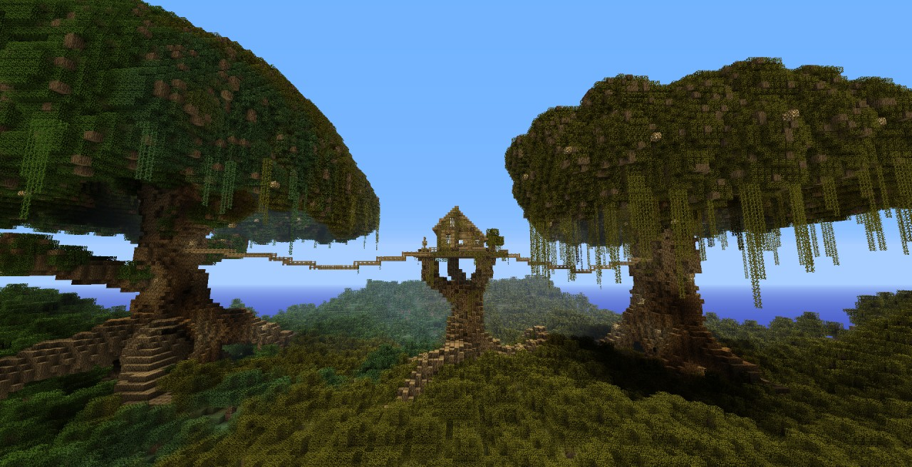 Minecraft Tree Houe With Two Huge Trees D Minecraft Project