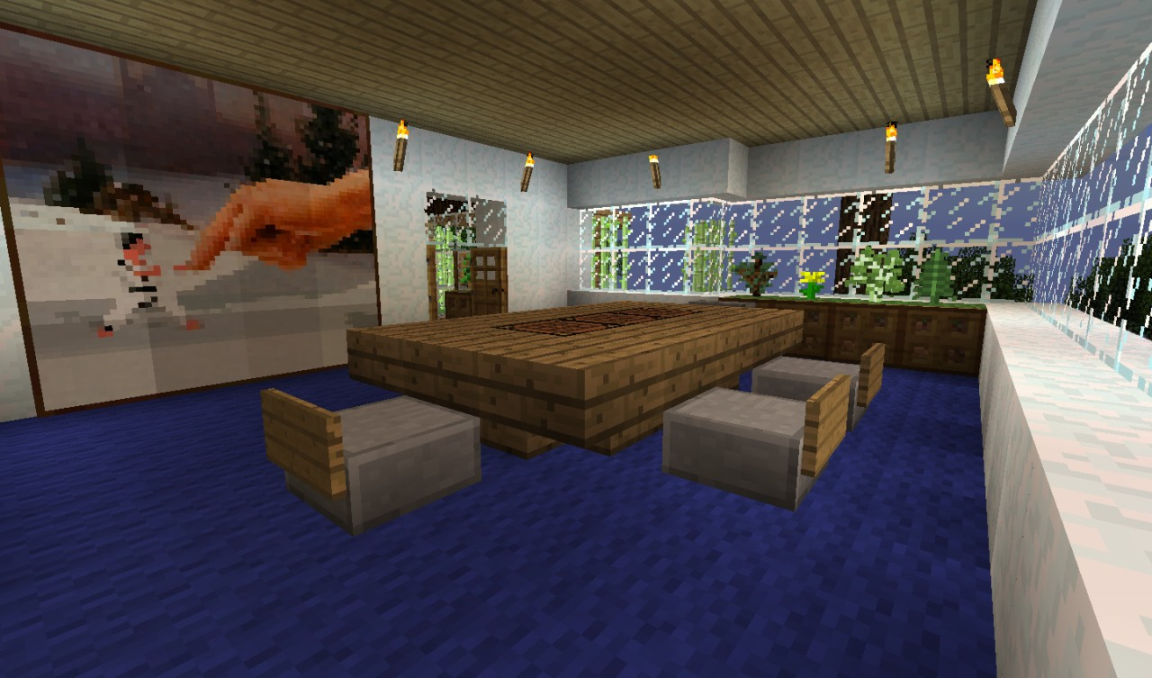 Modern house in the woods minecraft project for Dining room designs minecraft