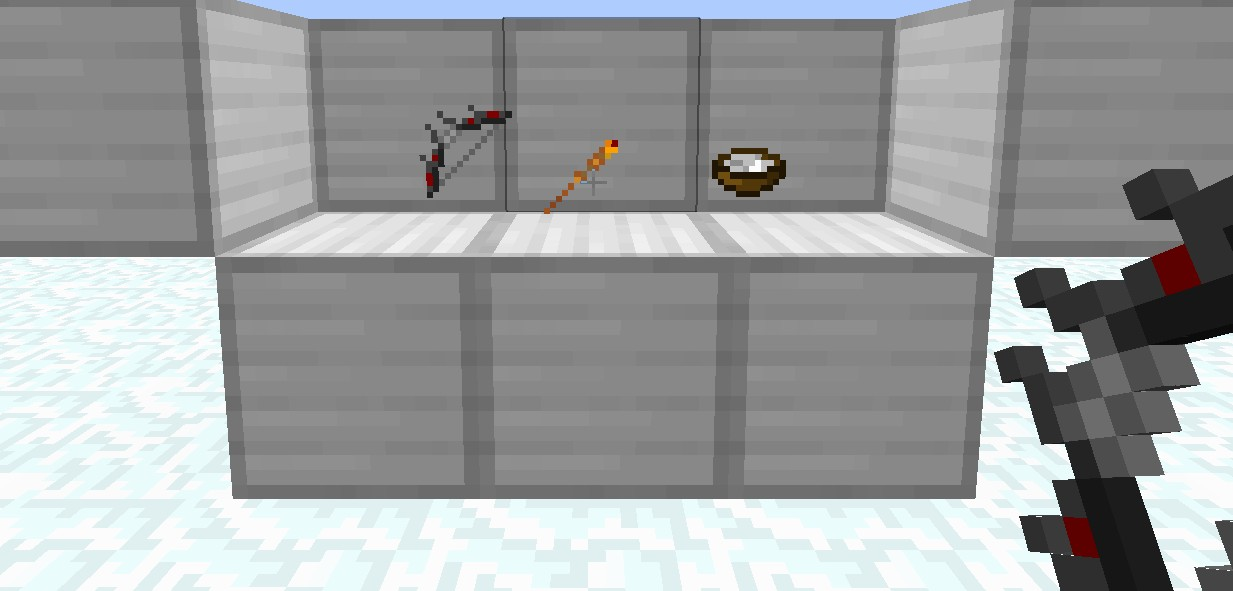 The Daedric bow, Fire wand and Sugar pile.(bow, flint and steel, sugar.)