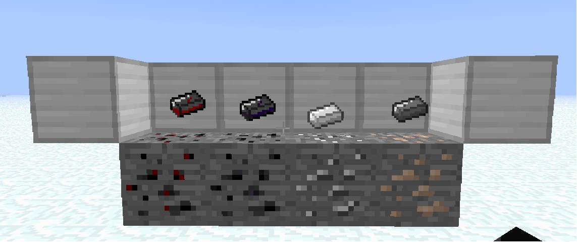 Some ores and Ingots.Diamond(Daedric), Gold (Ebony), Iron (Steel), Coal (Iron)