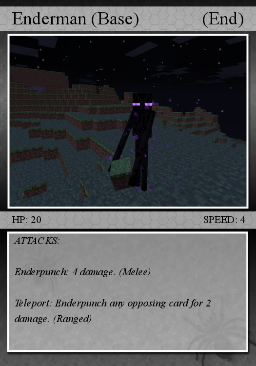 "The Enderman card. Because it says ""(end),"" this mob can only spawn in the end realm without using the card or ability ""force spawn."""