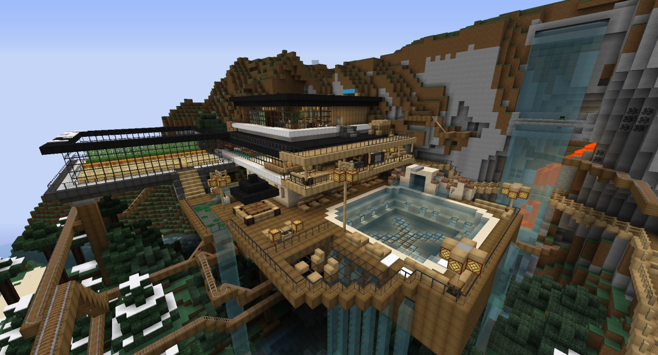 Xer0 39 s modern mountain mansion minecraft project for House on a mountain