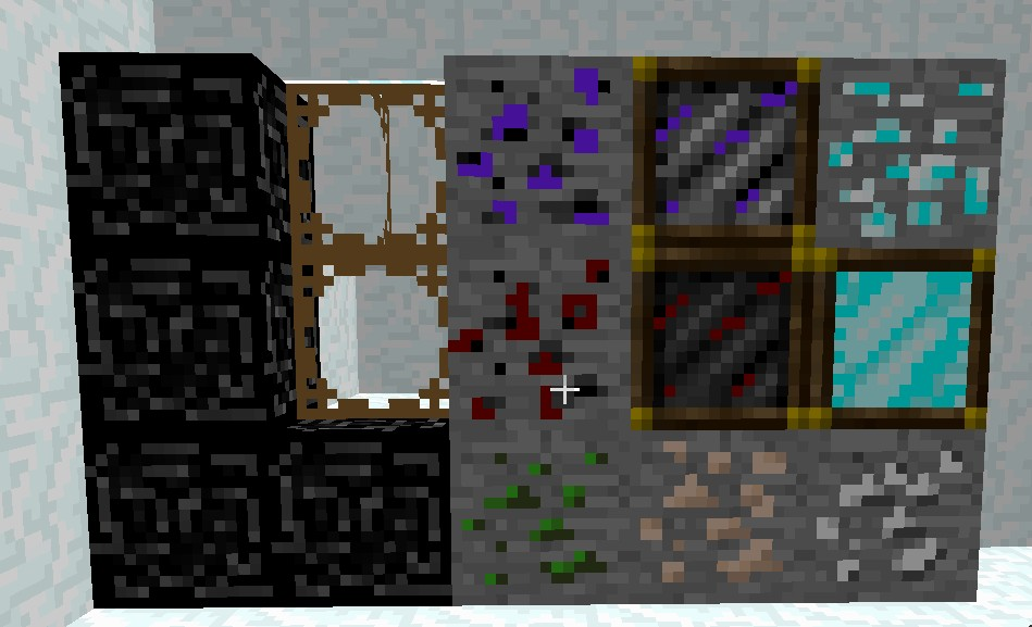 The ores and thier blocks + bedrock and glass.