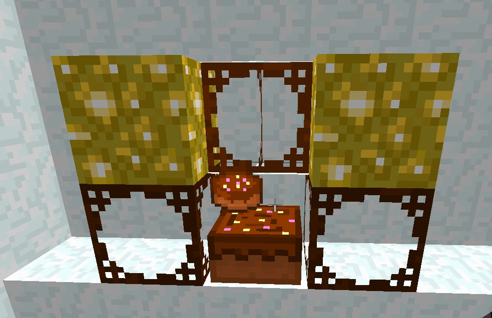 Glowstone, Cake and Glass.