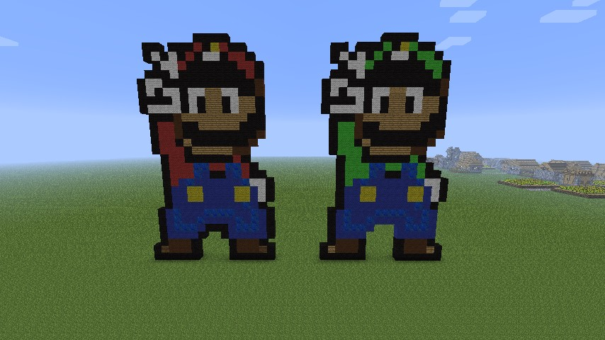Luigi And Mario Pixel Art Minecraft Map
