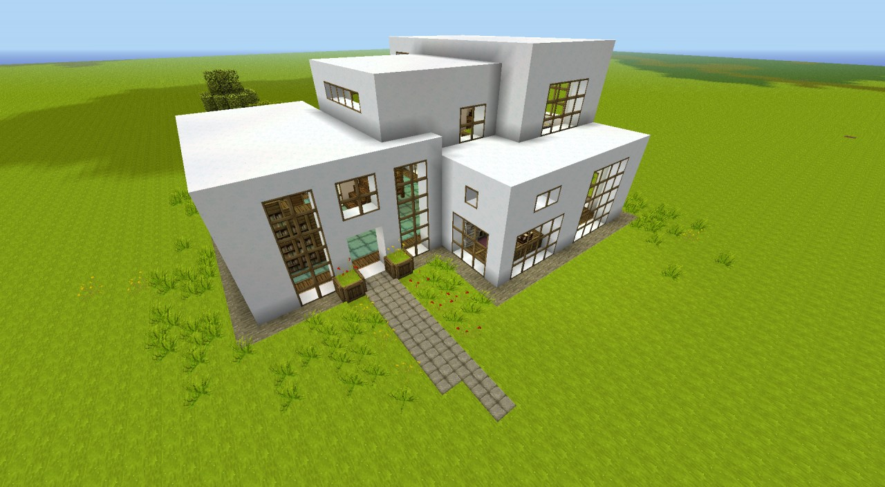 Minecraft build modern house 02 misspandora minecraft for Building a house step by step