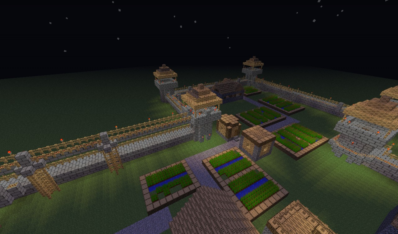 Rollercoaster And Defence Walls Around Npc Village