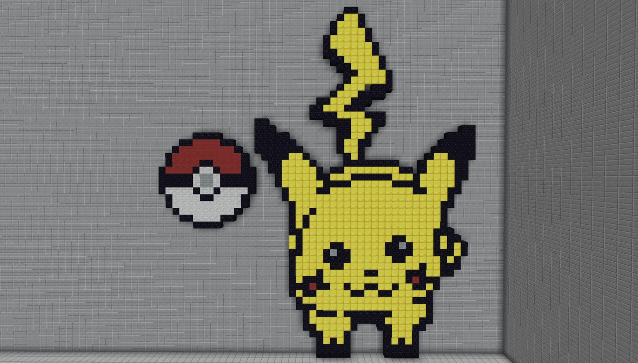 Pixel Art Pikachu Pokémon Pokéball Minecraft Project
