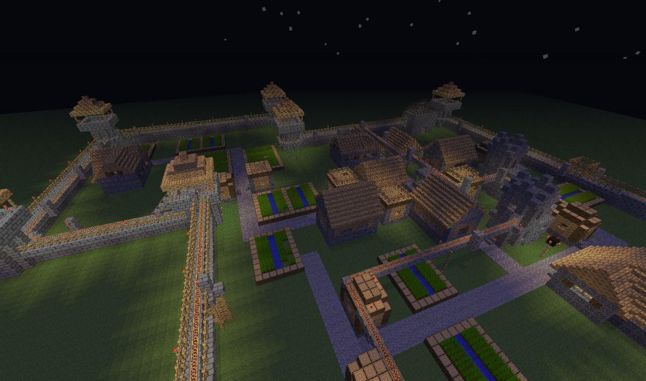 Rollercoaster And Defence Walls Around NPC Village