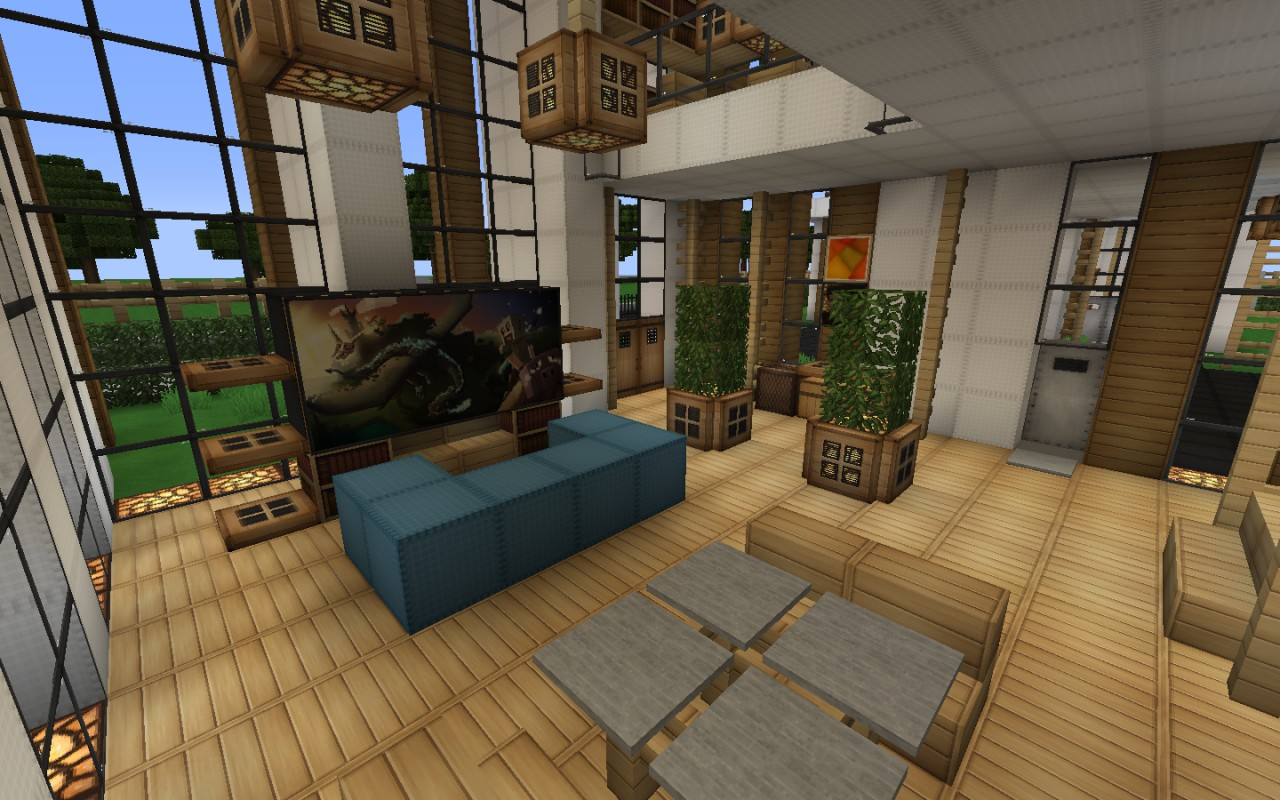 Modern house series 1 minecraft project Living room furniture minecraft