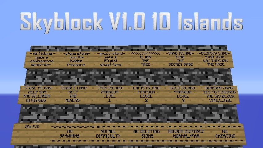 Skyblock V1 0 10 Islands!! Minecraft Project