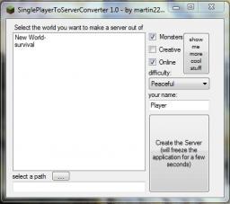 SinglePlayerToServerConverter [Program] Minecraft Mod