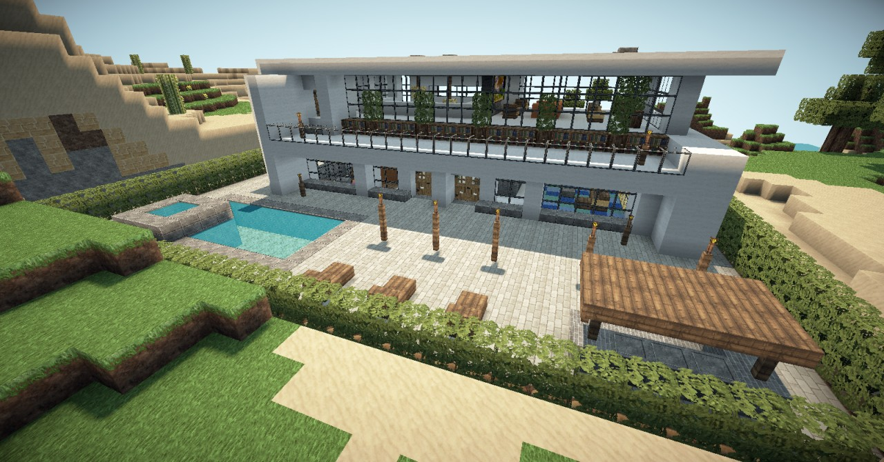 Backyard Buildings And Creations Modern Minecraft House With Pool Zionstar.net Find The Best - 1280x670 ...