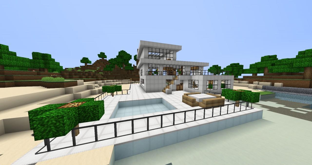 Minecraft modern beach house memes for Beach house designs minecraft