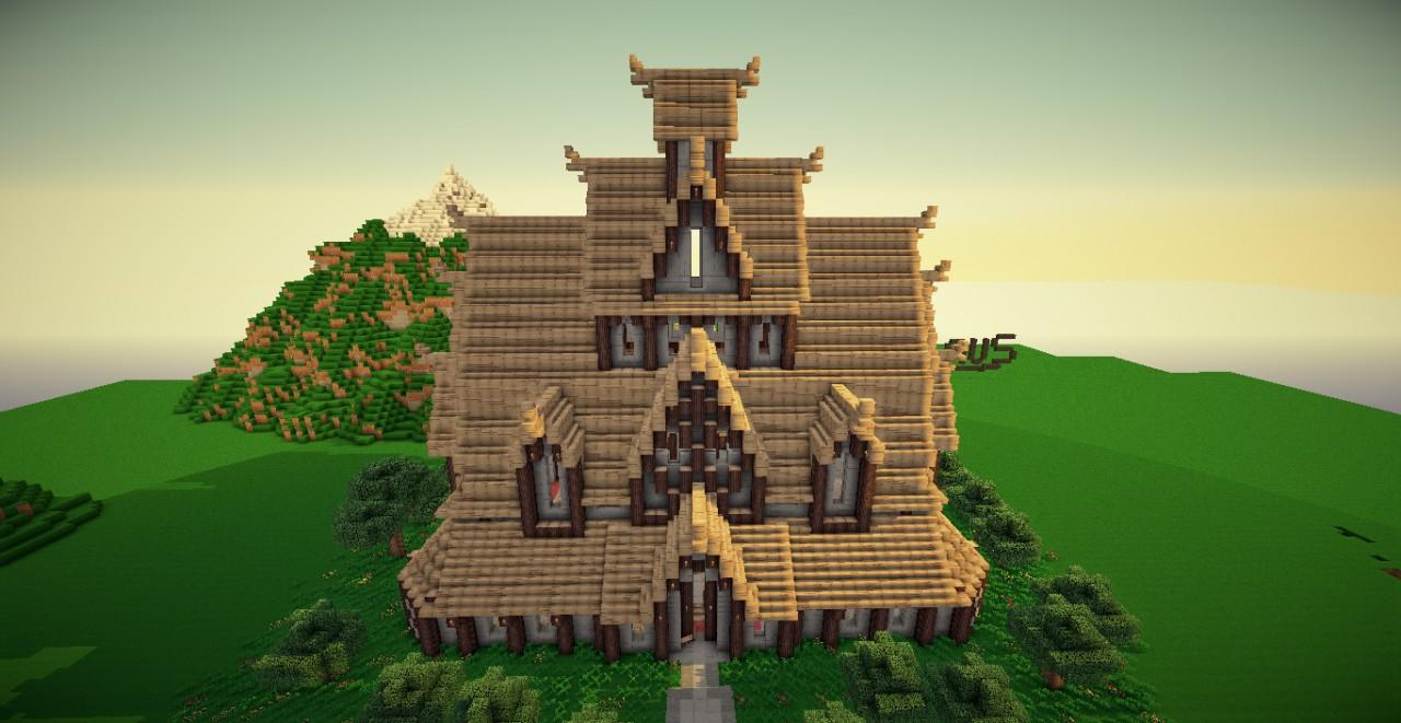 Stave Church from my survival world : Minecraft - reddit.com