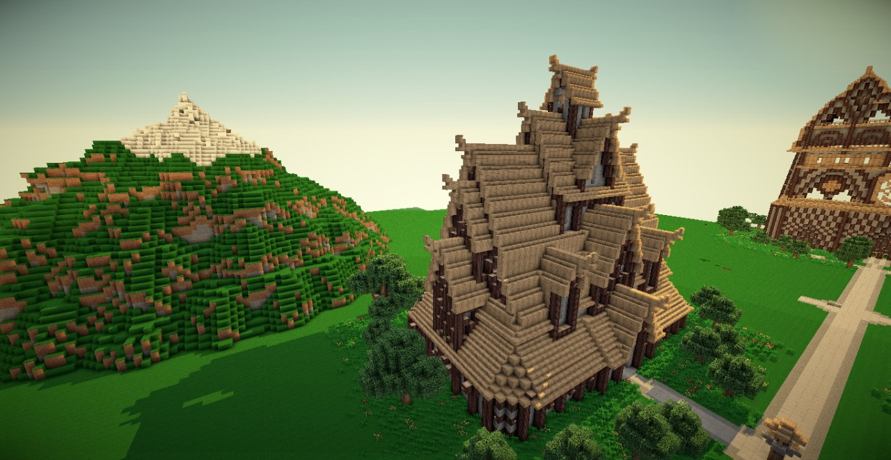 Building a Nordic Stave Church In Survival Minecraft - YouTube