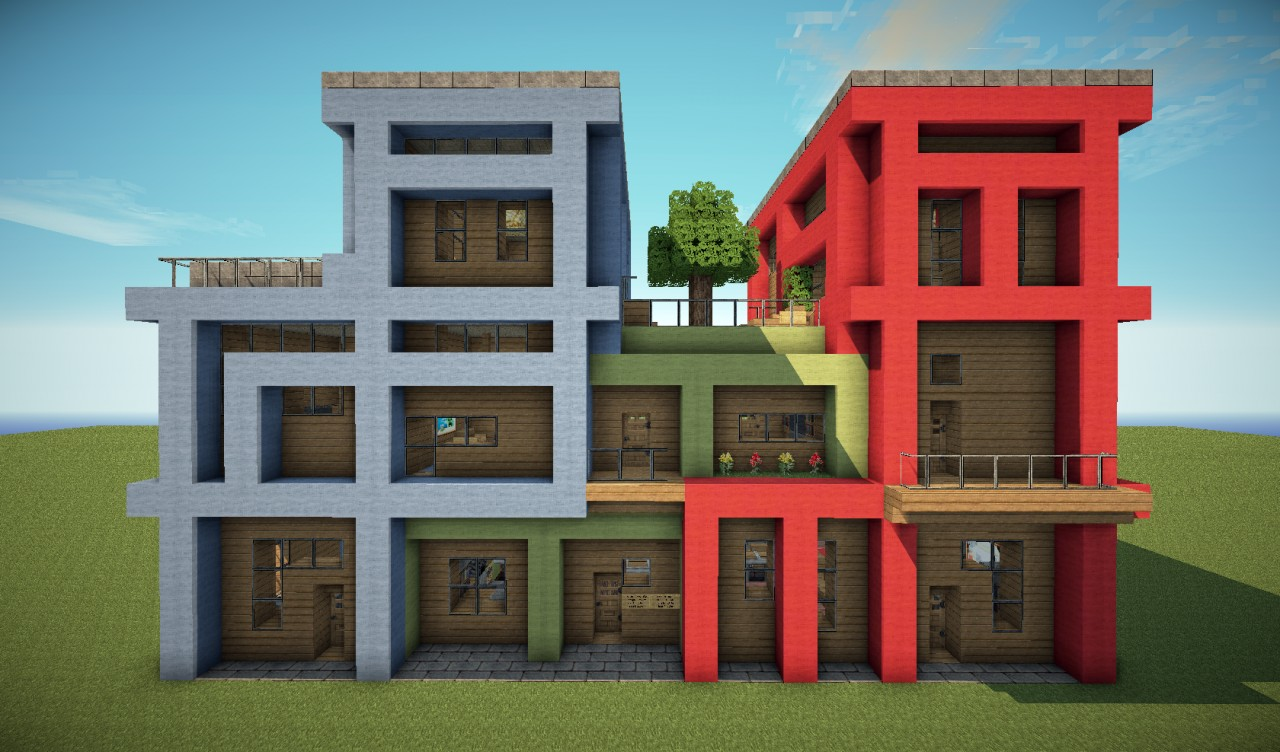 Tetris apartments modern build minecraft project for Apartment plans modern