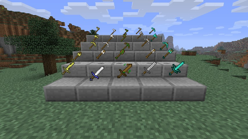 Better weapons and tools for default Minecraft texture pack Minecraft Texture Pack