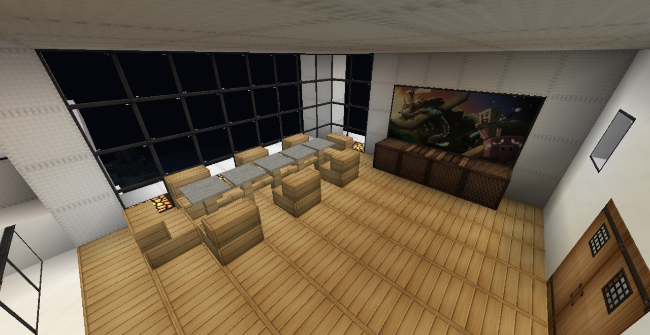 Modern mountain house minecraft project for Minecraft dining room designs