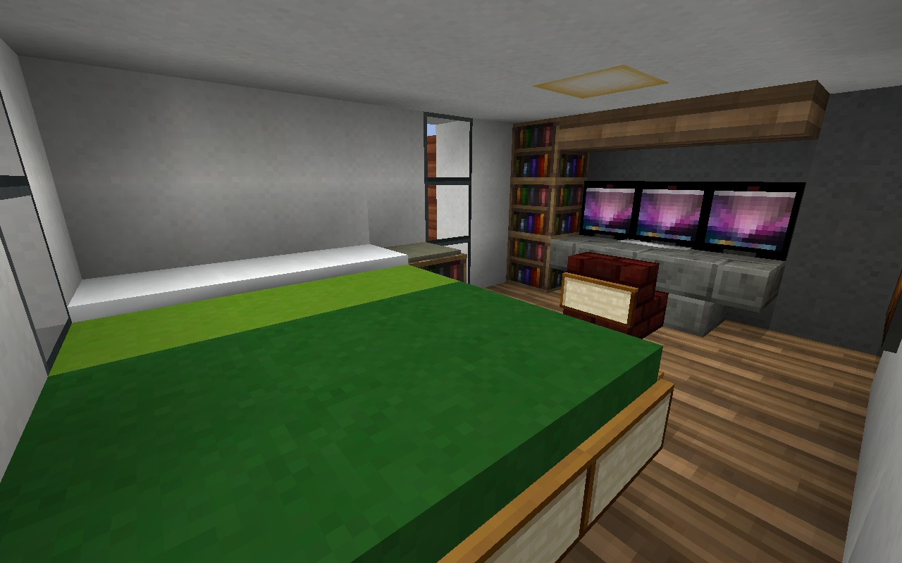 The gallery for minecraft modern bedroom for Minecraft house interior living room