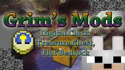 Minecraft Mods : Grims Mods: Digital Clock, Treasure Chest, and Flat Bedrock