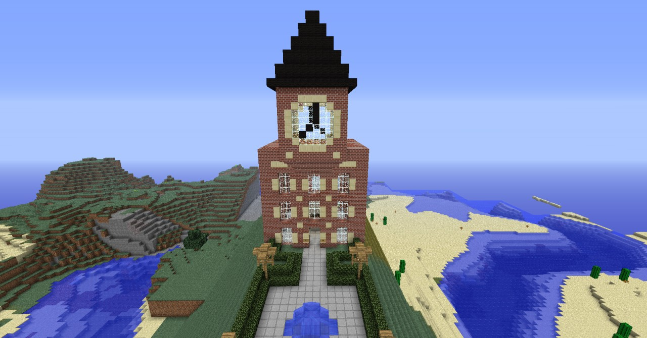 Train Station With Clock Tower Minecraft Project