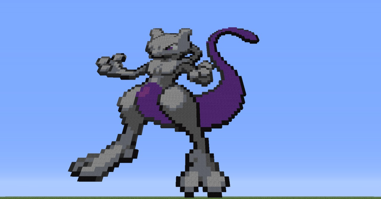 Images of Minecraft Pixel Art Pokemon Mewtwo - www