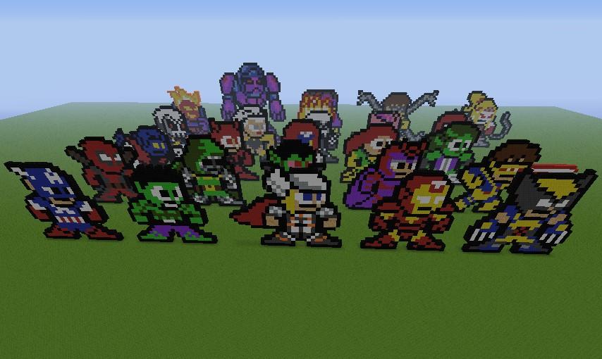 Marvel 8-bit Pixel Art (25 Characters) Minecraft Project