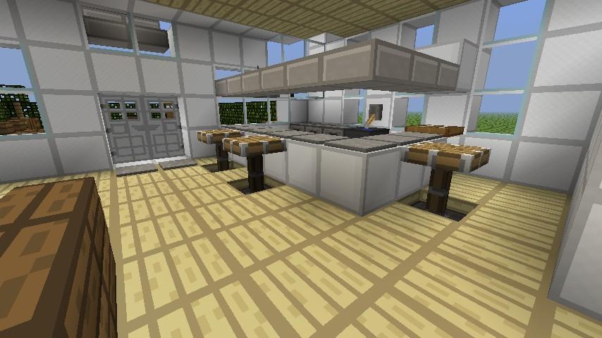 Minecraft white modern house minecraft project for Kitchen designs in minecraft