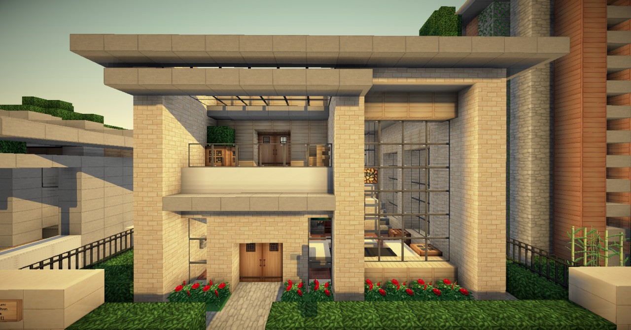 Small simple modern house wok server minecraft project for Simple modern wood house
