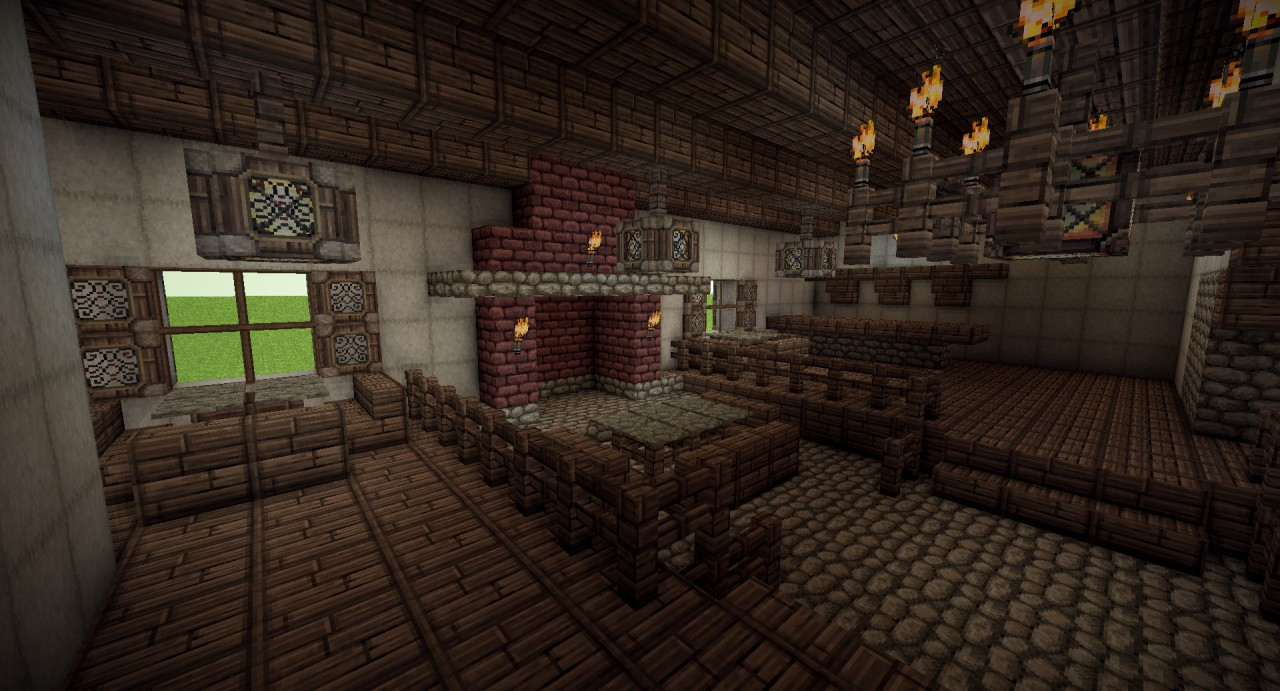 Medieval tavern with full interior minecraft project for Interior designs minecraft