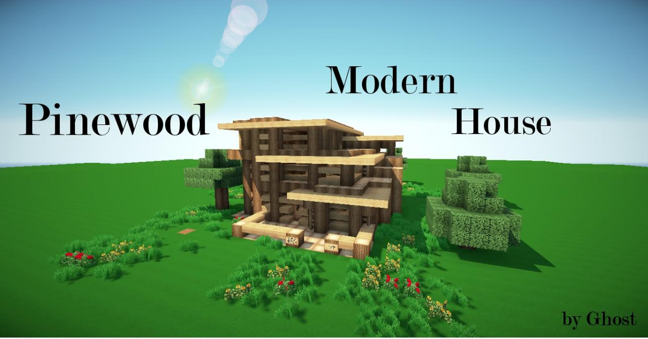 Modern Wood House Minecraft Pinewood Modern House