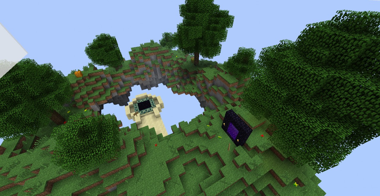 The Portal Sky Island with End and Nether portals.