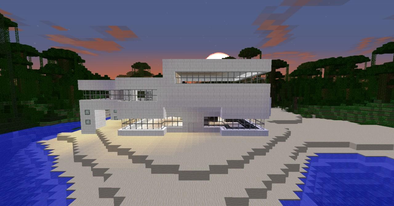 Modern Beach Redstone Machine House Minecraft Project