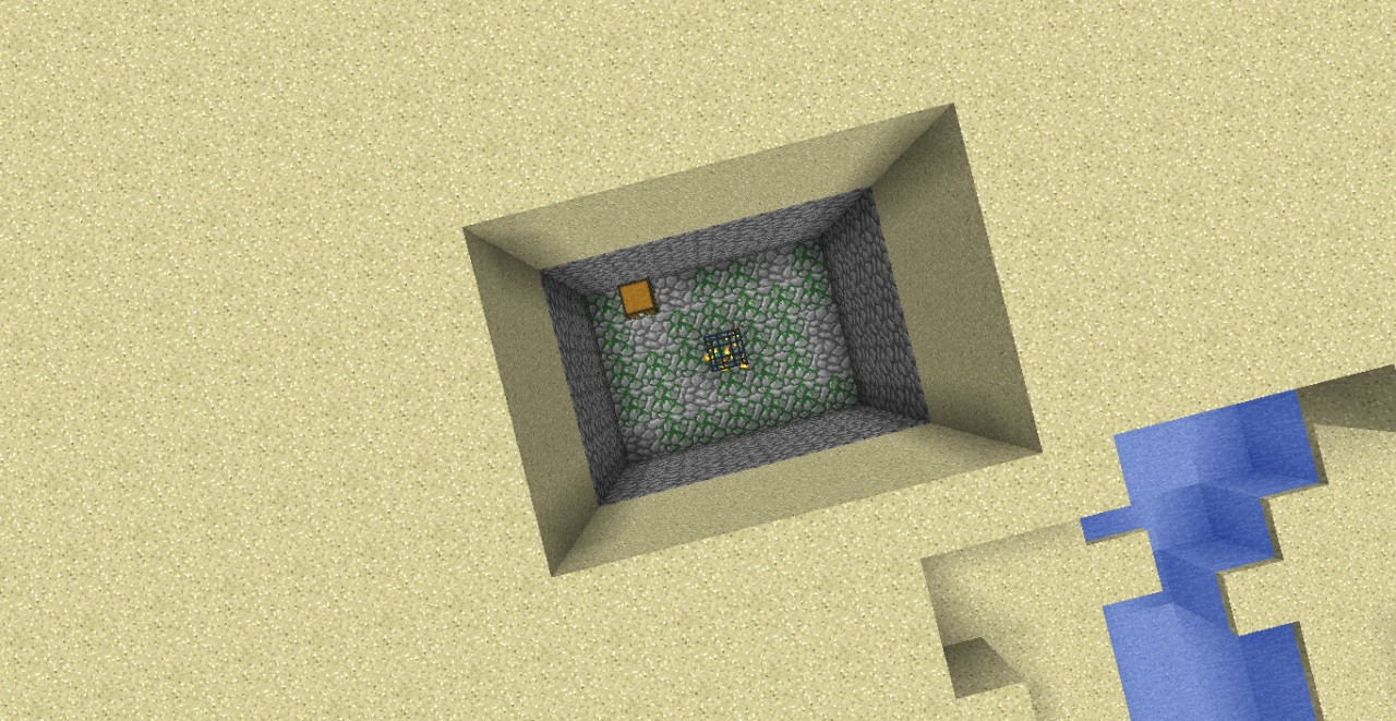 The zombie spawner at the back of the village, without the sand.