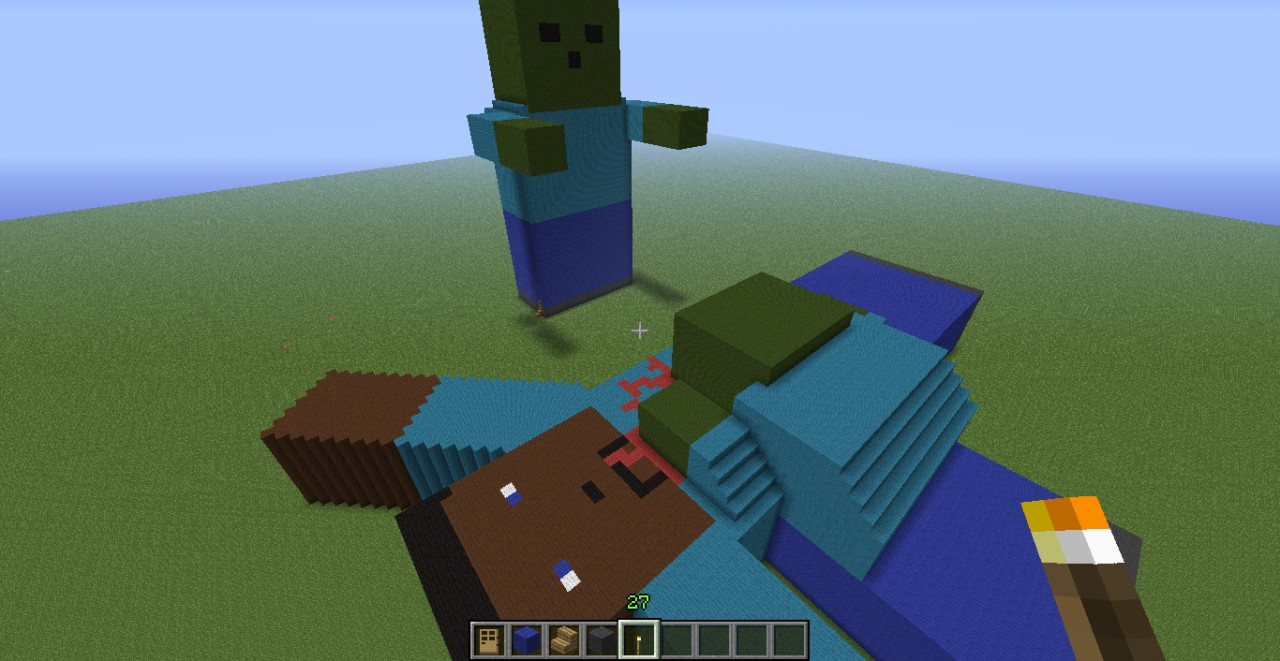 Zombies eating steve minecraft project for Zombie build