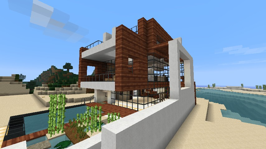Small modern beach house schematic minecraft project for Modern house schematic