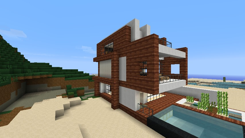 Small modern beach house schematic minecraft project for Modern house projects
