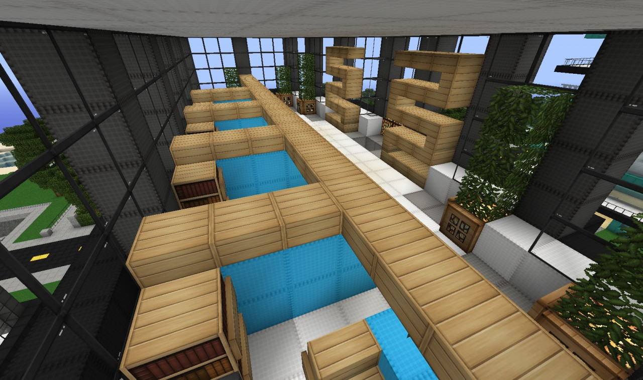 Slanted valley interior design building wok minecraft for Office design minecraft