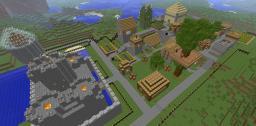 Sea border fortified NPC village Minecraft