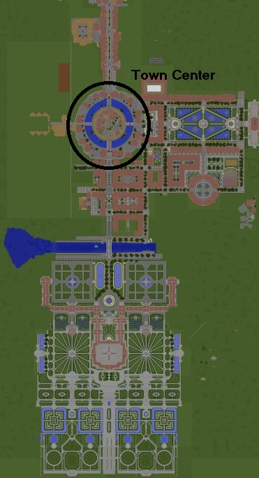 Current progress of the city, the town center is marked