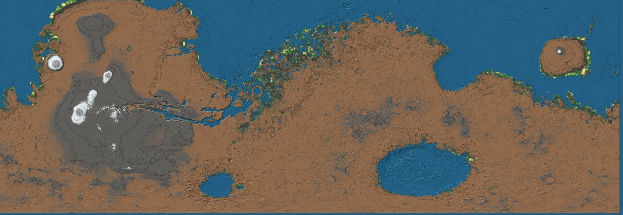 Mars Terra-formed (1:800 scale) 3.5 days to run across ... on map of a, map of all, map or,