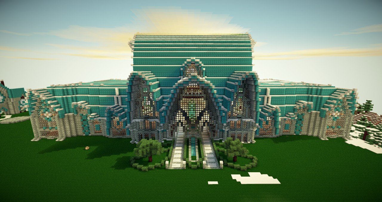 Cyan Dwarven Palace Minecraft Project