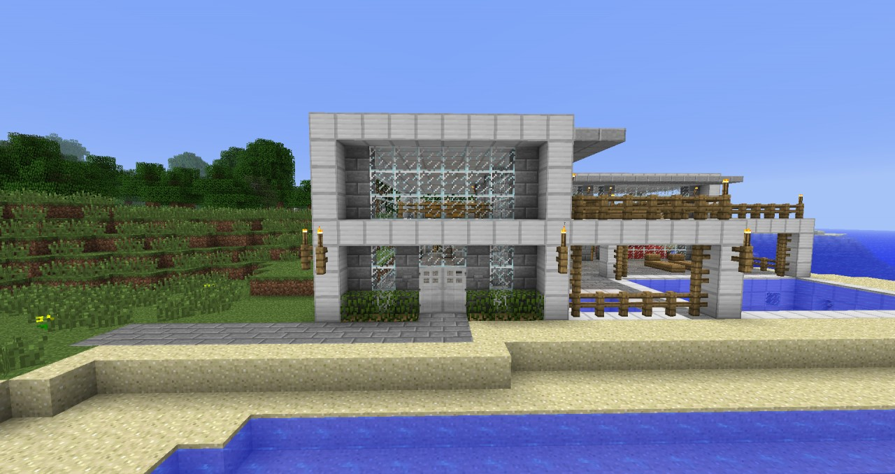 Modern beach side house minecraft project for Modern house minecraft pe