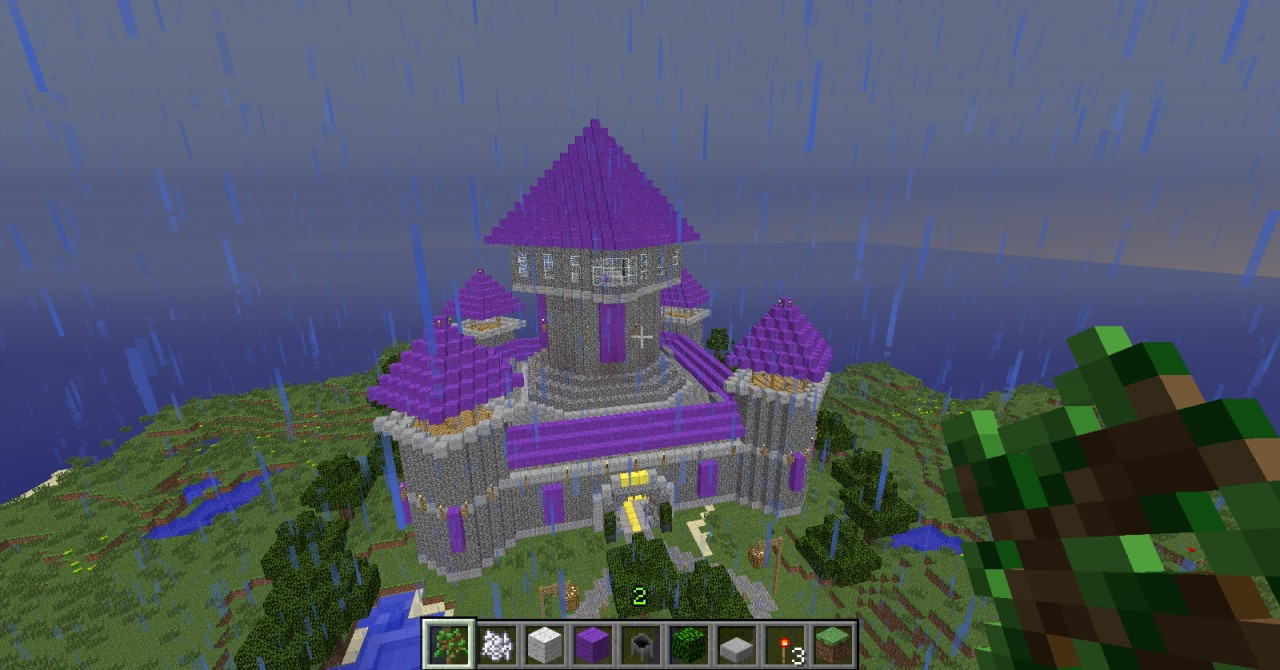 how to build purple minecraft house