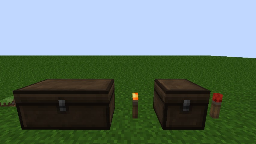 Chests and animated torches